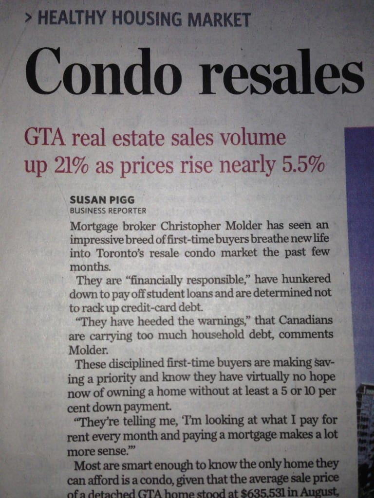 Toronto Star article Condo sales Toronto